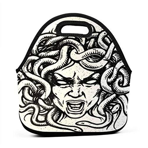 BJjiayu - Bolsa para el almuerzo con aislamiento y reutilizable, para mujer y hombre, pequeña lonchera con emblema de cabeza de serpiente Medusa griega Demon Lady Gorgon Mitology...