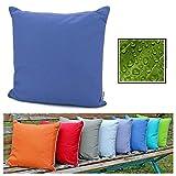 fashion and joy Outdoor Lounge Dekokissen Lotus Effekt 45x45 Blau wetterfest schmutz- und...