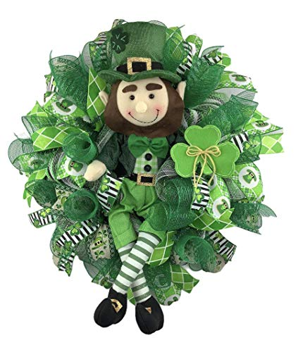 2 FOOT TALL LEPRECHAUN! Large Artisan St Patrick's Day Wreath, Made with Clover Ribbon & Weather Resistant Deco Mesh.