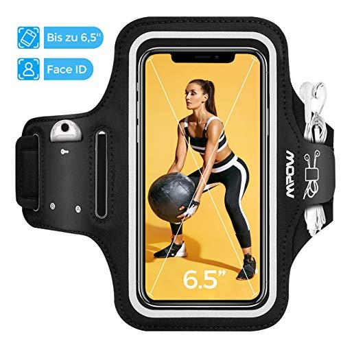 Mpow Sportarmband Handy bis zu 6, 5 Zoll für iPhone SE 2020/11/XR/HUAWEI P30 lite/Galaxy S20/A20e, Schweißfest Sportarmband mit Reflektivband, Kopfhörer- und Schlüssel-Schlitz, für Joggen, Radfahren