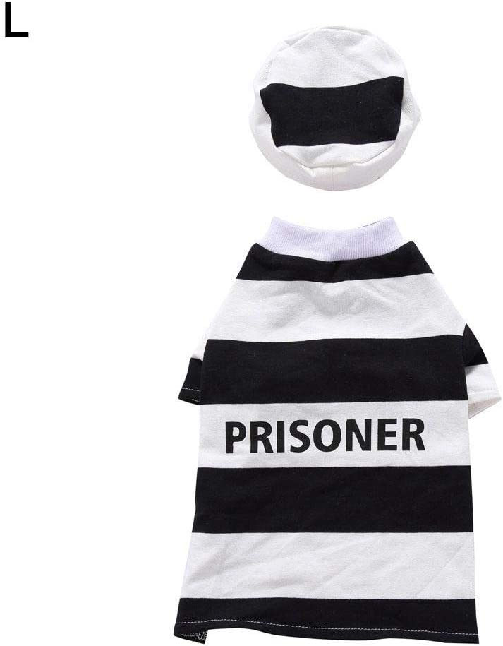 Pet Prisoner Costume With Hat,Pet Halloween Costume Dog Prisoner Costume Prison Pooch Party Cosplay Clothing With Polyester Cotton