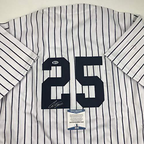 Autographed/Signed Gleyber Torres #25 New York Pinstripe Custom Baseball Jersey Beckett BAS COA