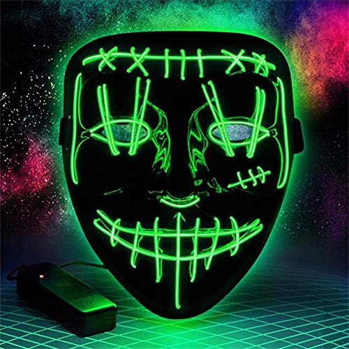 Queta Máscara de Halloween LED Máscara de Cosplay Carnaval Purga Máscara Led Accesorios de Halloween (Style B Verde)