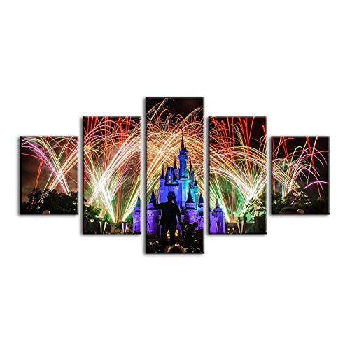 Fotos Wall Art Poster HD Impreso 5 Panel Fireworks Scenery