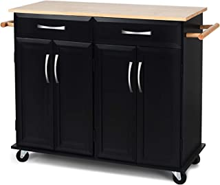 Giantex Kitchen Island Cart Wood Trolley Rolling Utility Cart w/ 2 Cabinets, 2 Drawers,2 Towel Racks, Rubber Wood Top, Smooth Lockable Wheels Home Kitchen Carts, Black