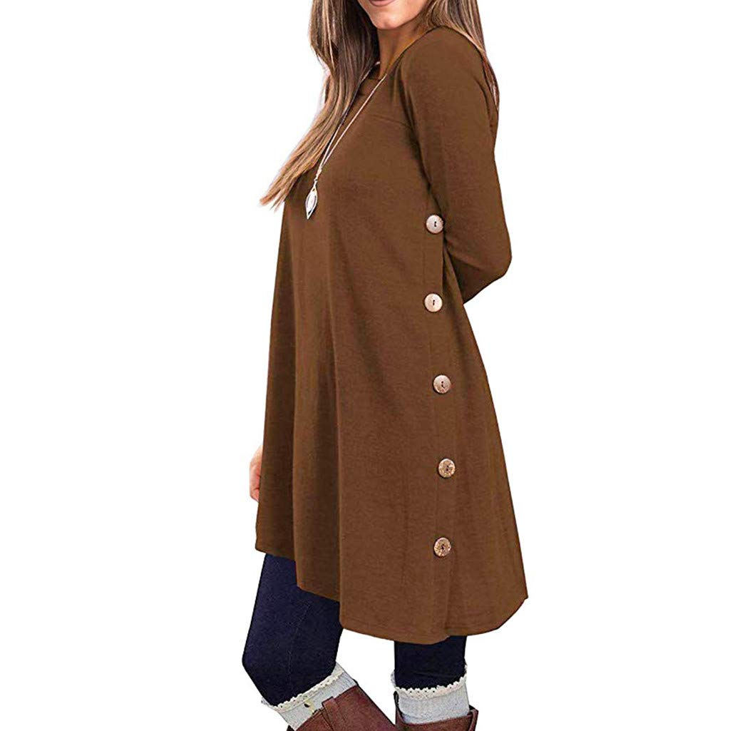 Available at Amazon: E-Scenery Women's Long Sleeve Tunic Dress Autumn Winter Casual Pullover Button Side Tops