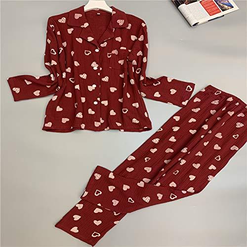 Otoño Pijama de algodón para Mujer Twinset Hilado de algodón de Manga Larga Pijama Transpirable y cómodo 2 L