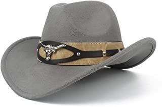 SHENTIANWEI Men Women Wool Western Cowboy Hat with Cow Head Leather Band Pop Wide Brim Jazz Church Hat Sombrero Hat Size 56-58CM