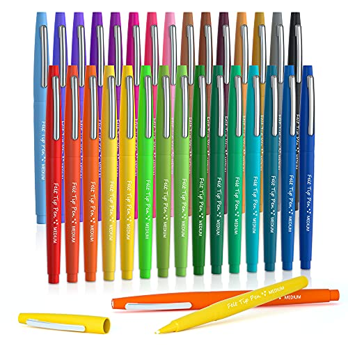 30 Colors Felt Tip Pens, Medium Point Felt Pens, Lelix Assorted Colors Markers Pens For Journaling, Writing, Note Taking, Planner Coloring, Perfect...