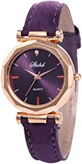 Best Valentine's Gift Women's Wrist Watch Analog Quartz with Leather Strap and Crystal Dial Classic Daily Style (Purple)