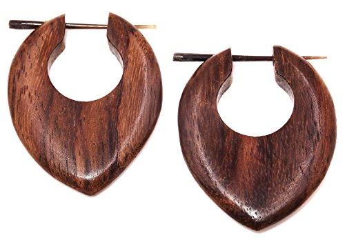 Falso Dilatador madera pendientes Piercing hombre mujer Wooden Fake Expander Gauge Wood Earring Earrings Fake par espiral marrón aro