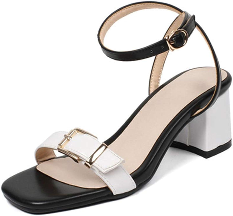 MENGLTX High Heels Sandalen Plus Gre 33-44 Einfache Schnalle Sommer Schuhe Mischfarben Mode Frauen Sandalen Platz High Heels Schuhe Frau