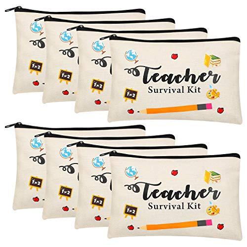 8 Pieces Teacher Appreciation Gifts Makeup Pouch Cosmetic Bag Travel Toiletry Case Pencil Bag with Zipper for Preschool High School Teacher Gifts (Set 2)