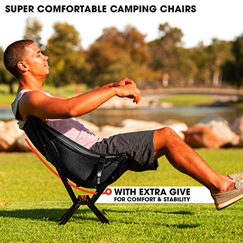 CLIQ Camping Chair - Most Funded Portable Chair in Crowdfunding History. | Bottle Sized Compact Outdoor Chair | Sets up in 5 Seconds | Supports 300lbs | Aircraft Grade Aluminum (Black)