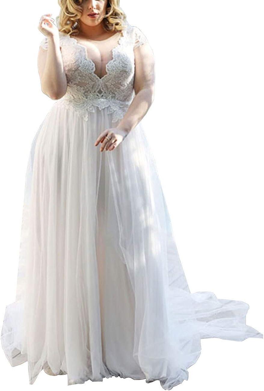 Mulanbridal Women's Lace Applique Wedding Dress V Neck Plus Size ...