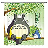 AdaCrazy Karikatur-Duschvorhang Netter Totoro, der auf grünem Baum-dekorativem Gewebe-Badezimmer-Vorhang Microfiber-Badezimmer-Duschvorhang sitzt Moderner Badezimmer-Vorhang 71x71 Zoll