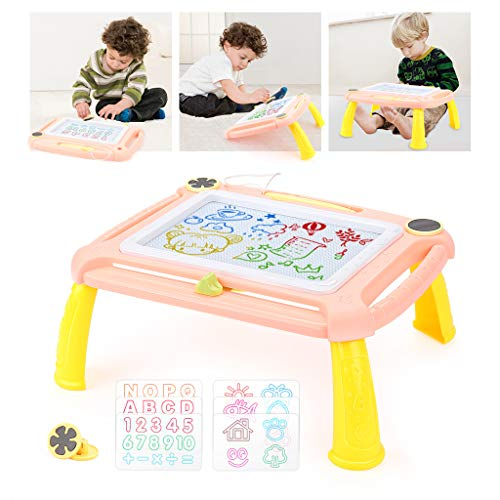EAHUMM Magnetic Drawing Board Erasable Writing Magna Doodle Sketching Pad with Detachable Legs Gift Toy for Kids Toddler (Orange)