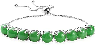Bolo Bracelet 925 Sterling Silver Platinum Plated Round Dyed Color Green Jade Jewelry for Women