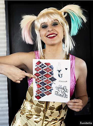 Funidelia | Tatuajes de Harley Quinn Oficial para Mujer Superhroes, DC Comics, Suicide Squad, Villanos, Accesorio para Disfraz