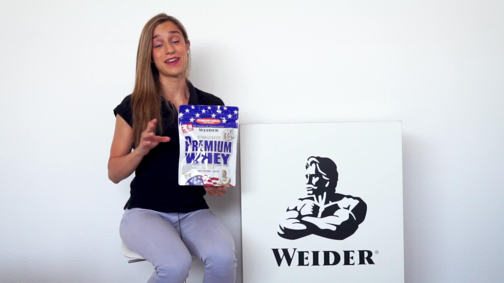 Weider Premium Whey, CFM, 2g de L-Glutamina por toma. Sabor Fresa-Vainilla - 500 gr