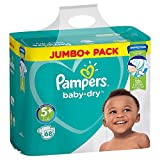Pampers Baby Dry Couches Taille 5 + (Junior Plus) 13–27 kg, 1 Pack (1 x 68 pièces)