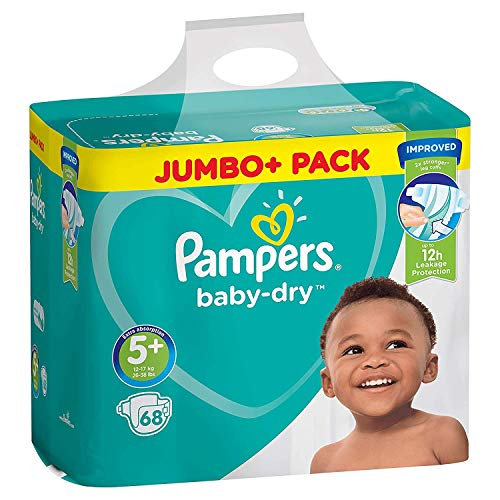 Pampers Baby Dry Couches Taille 5+ (Junior Plus) 13–27kg, 1 Pack (1x 68pièces)