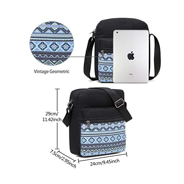 Messenger Bag for Girls, Vintage Small Lightweight Canvas Crossbody Bag for Women Fits Water Bottle 5