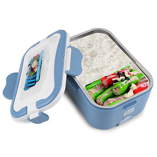 GOTOTOP Riscaldamento Elettrico Lunch Box Portatile Plastica,Scaldavivande Elettrico Da Auto,Per Il Conducente Del Camion Pranzo,1.5L,12V/24V (Blu, 24V)