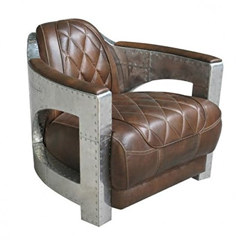 Casa Padrino Echt Leder Art Deco Aluminium Sessel Braun - Club Sessel - Lounge Sessel