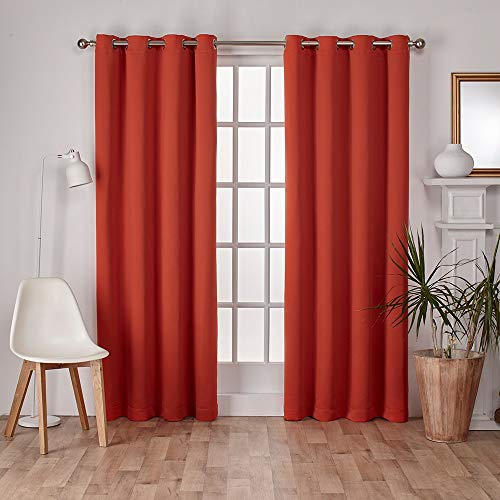 Exclusive Home Curtains Sateen Twill Woven Blackout Grommet Top Curtain Panel Pair, 52x84, Mecca Orange, 2 Count