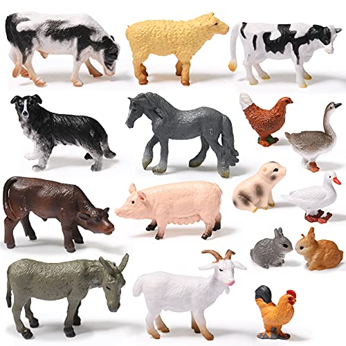 16 Pieces Farm Animal Figures Toys Realistic Jungle Farm Animal Figurines Mini Learning Educational Playset Cake Topper Ornaments for Birthday Christmas Animal Themed Party Supplies