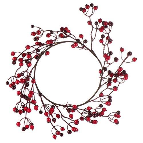 ULTNICE Roter Pip Beerenkranz Künstlicher Zweigkranz Rote Beerenstielgirlande für Haustürwandfenster-Kaminweihnachtsdekoration