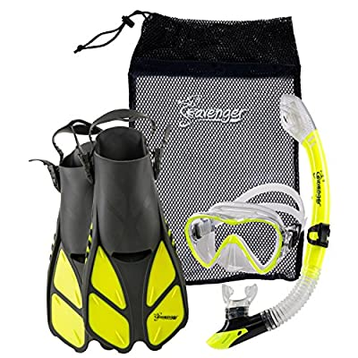 Seavenger Diving Dry Top Snorkel Set with Trek Fin, Single Lens Mask and Gear Bag, S/M - Size 4.5 to 8.5, Gray/Neon Yellow