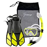 Seavenger Diving Dry Top Snorkel Set with Trek Fin, Single Lens Mask and Gear Bag, XS/XXS - Size 1 to 4 or Children 10-13, Gray/Neon Yellow