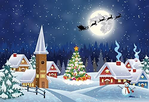 Fondo de fotografía de Bosque de Navidad Invierno Nieve árbol de Bosque decoración de Fiesta de Navidad Fondo de fotografía A19 9x6ft / 2,7x1,8 m