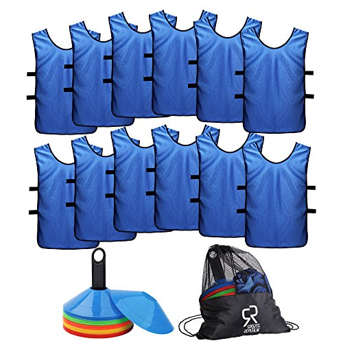 Soccer Cones (Set of 50) and Sports Jerseys Pinnies (12-Pack) - Perfect Disc Cones for Basketball Drills, Complete Soccer Training Equipment