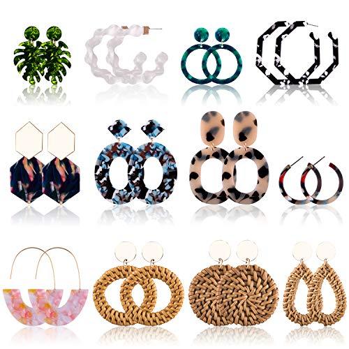 Duufin 12 Pairs Acrylic Earrings Rattan Earrings Set Resin Drop Dangle Mottled Acrylic Hoop Earrings Statement Earrings for Women Girls