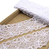 3 Inch Lace Ribbon, Floral Lace Trim, Elastic Lace for Crafts Rustic Wedding Decorations Hair Bow Making and Gift Wrapping (10 Yards)