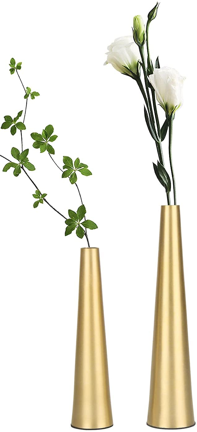 Vixdonos 10.5/8.5 inch Gold Metal Vase Small Flower Vase Set of 2 Taper Vase for Wedding Table Centerpiece Decorations, Home Decor (Gold)