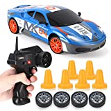 RC Drift Car 1/24 2.4GHz 4WD Remote Control Sport Racing On-Road Vehicle with LED Light, Batteries and Drift Tires (Blue 460)