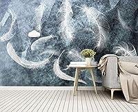 YCRY-壁紙3D白鳥の羽 -壁の装飾-ポスター画像写真-HD印刷-現代の装飾-壁画-450x300cm