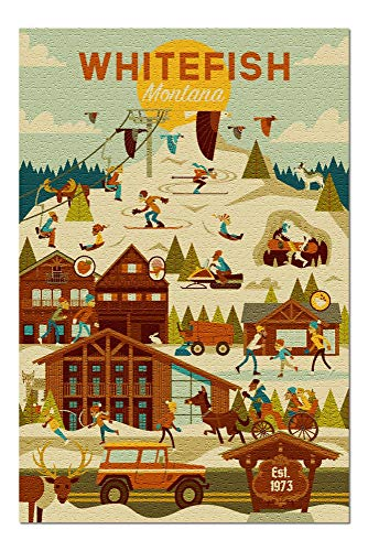 Promini Whitefish, Montana - Ski Resort - Geometric - 1000 Piece Jigsaw Puzzles for Adults Kids, Puzzles for Toddler Children Learning Educational Puzzles Toys for Girls Boys 20' x 30'