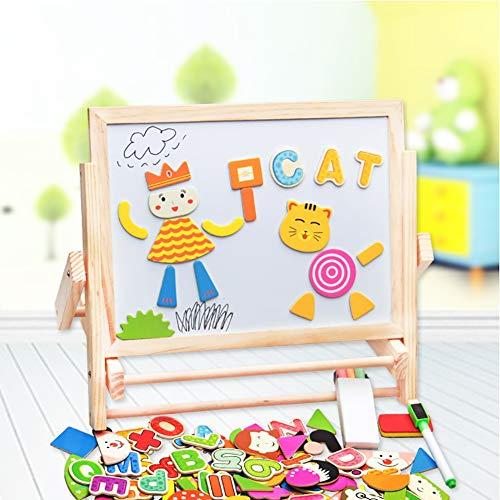 ROCK1ON Dubbelzijdig Magnetisch Kinderen Krijtbord Whiteboard Easel -Multifunctionele Easel voor Peuter Houten Magnetische Letters Nummers Dieren Set,Vroege Kindertijd Onderwijs