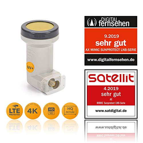 AX digitaler Single LNB Mimic Sun Protect (kälte- & hitzebeständig -35°C~70°C) LTE-Filter, 1 Teilnehmer, 0.1dB, 1fach, Full HD, 4K UHD, 3D, Kontakte vergoldet, Wetterschutz ausziehbar, 67dB