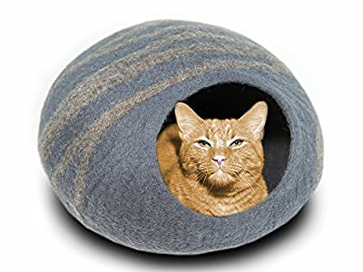 MEOWFIA Premium Cat Bed Cave (Large) - Eco Friendly 100% Merino Wool Beds for Cats and Kittens (Large, Slate Grey)