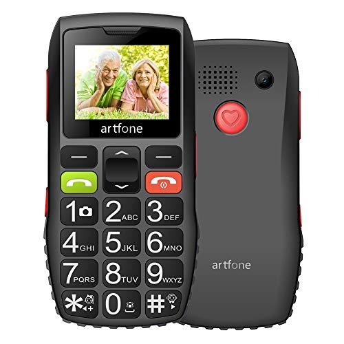 Artfone Botón grande teléfono móvil para ancianos desbloqueados Senior Sim gratis con botón de emergencia SOS 1400mAh batería