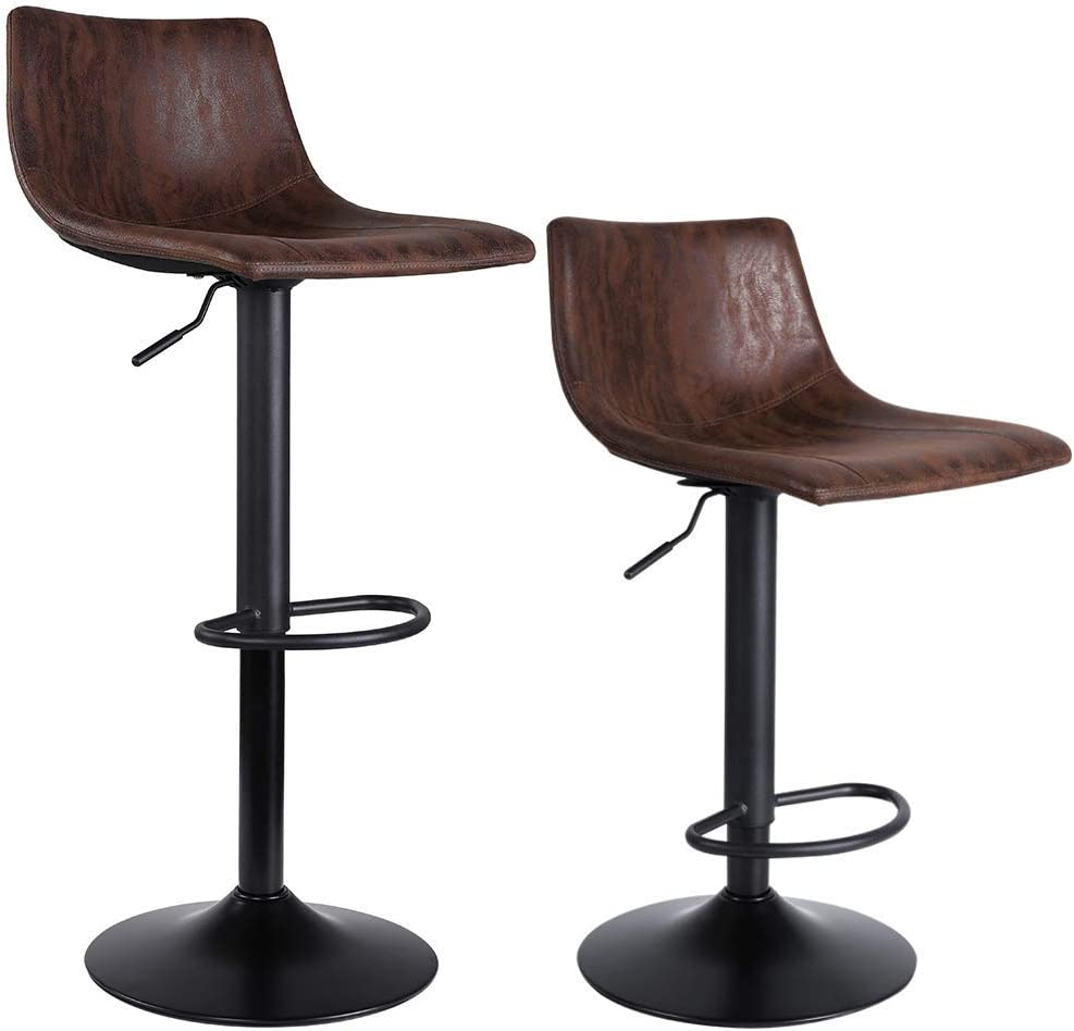 SUPERJARE Set of 2 Bar Stools Swivel Barstool unisex Chairs Back with High quality