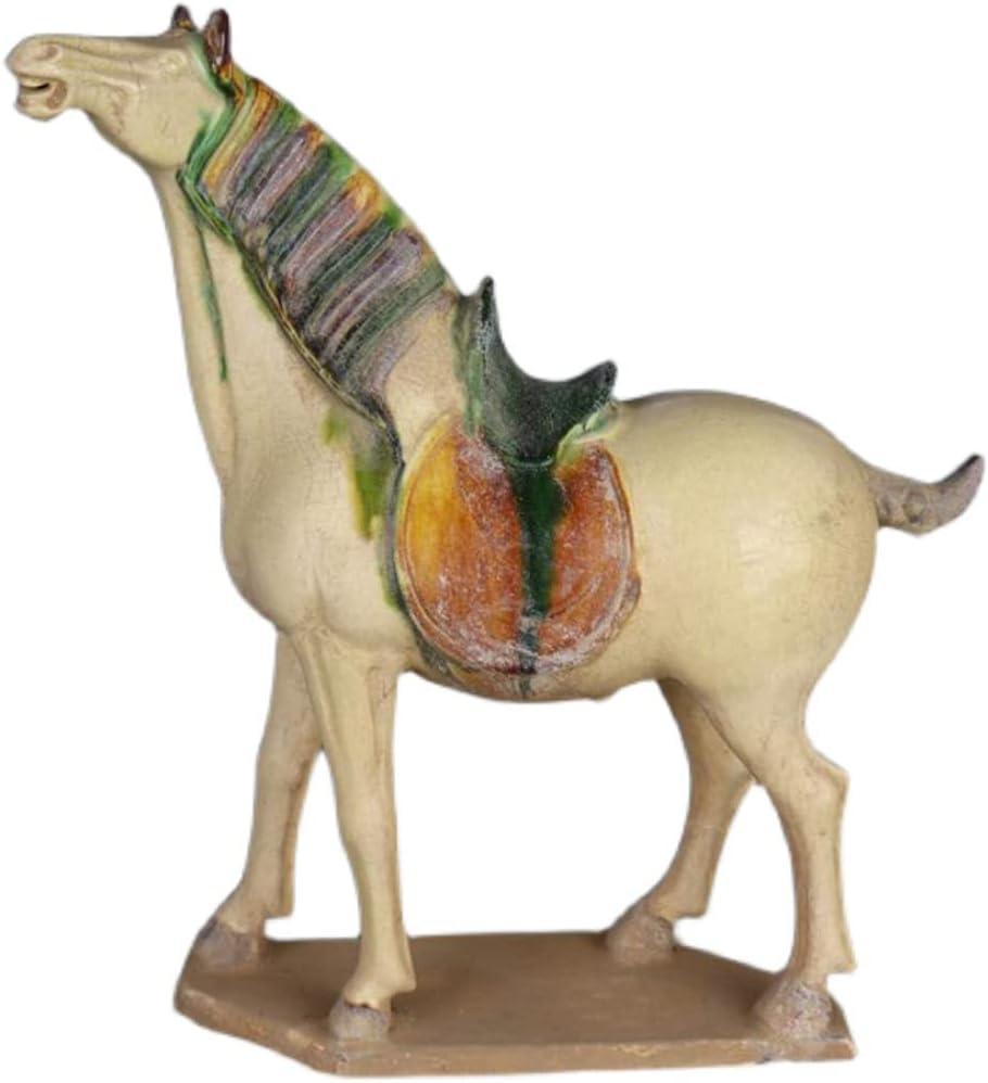 SDBRKYH Estatua de Caballo de cerámica, Modelo de Caballo de Tres Colores de la dinastía Tang, Productos de imitación de la dinastía Tang de China Antigua, colección Antigua, decoración del hogar