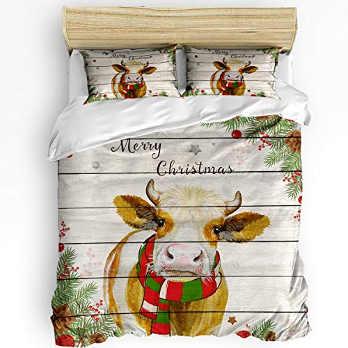 3 Piece Bedding Sets, Merry Christmas Cow Holly Plants Rustic Farmhouse Barn Wood Duvet Quilt Cover Set for Childrens/Kids/Teens/Adults, 1 Quilt Cover with 2 Pillow Case, Queen Size