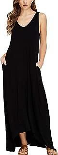 Womens Casual Loose V Neck Sleeveless Tank Top Long Maxi Dress with Pockets